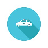 Transportation Flat Color Long Shadow Icons