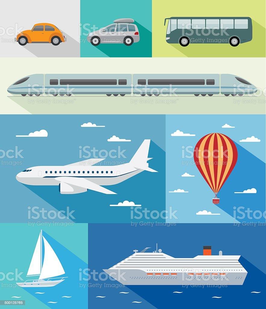Transportation flat icons vector art illustration