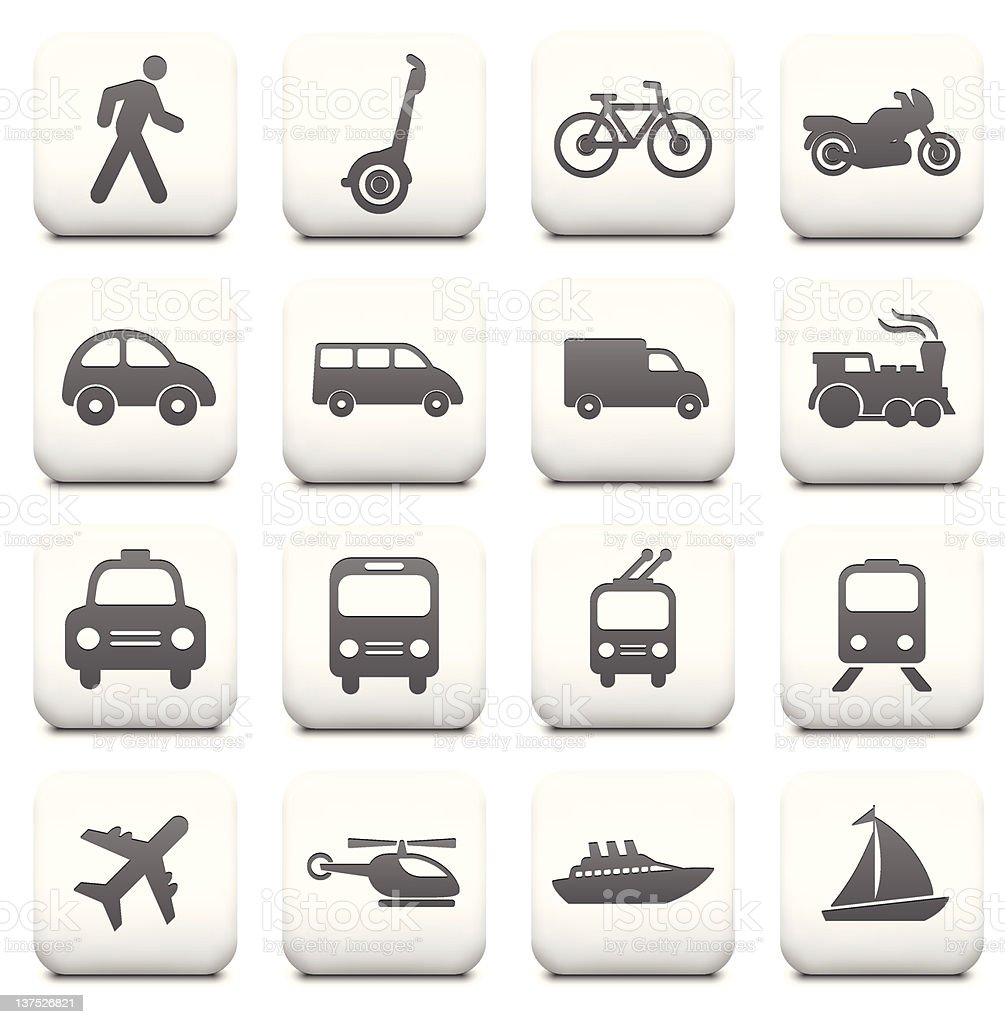Transportation Icon Collection on White Buttons vector art illustration