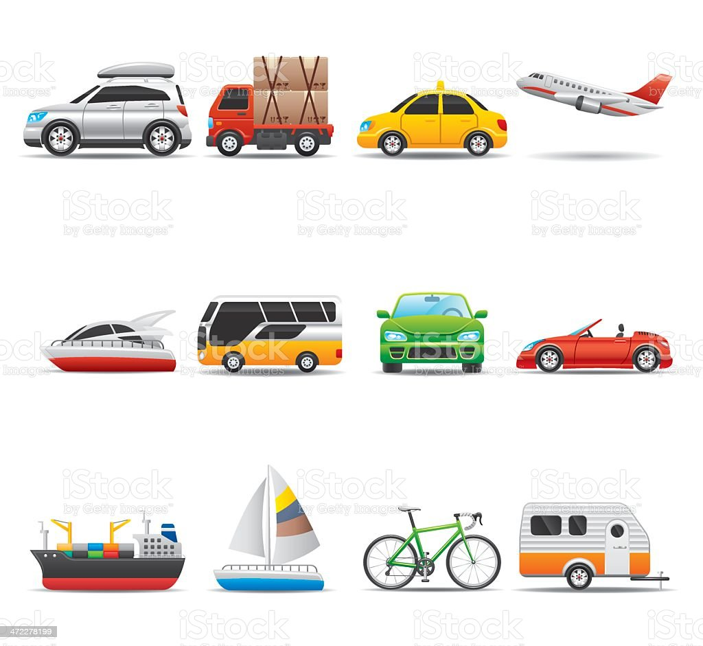Transportation Icon Set | Elegant Series vector art illustration