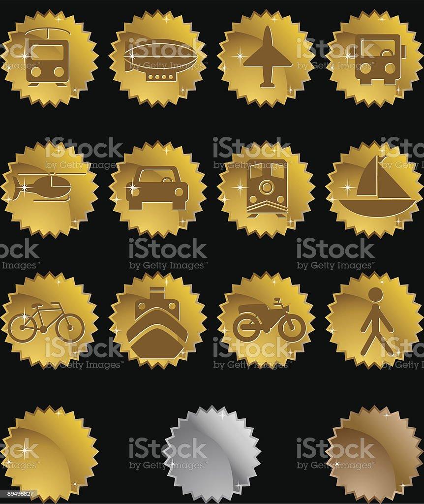 Transportation Icon Set: Metal Seal Series royalty-free stock vector art