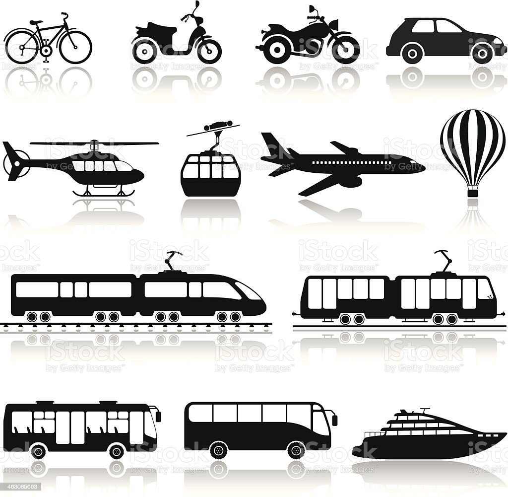 Transportation Icon Set vector art illustration