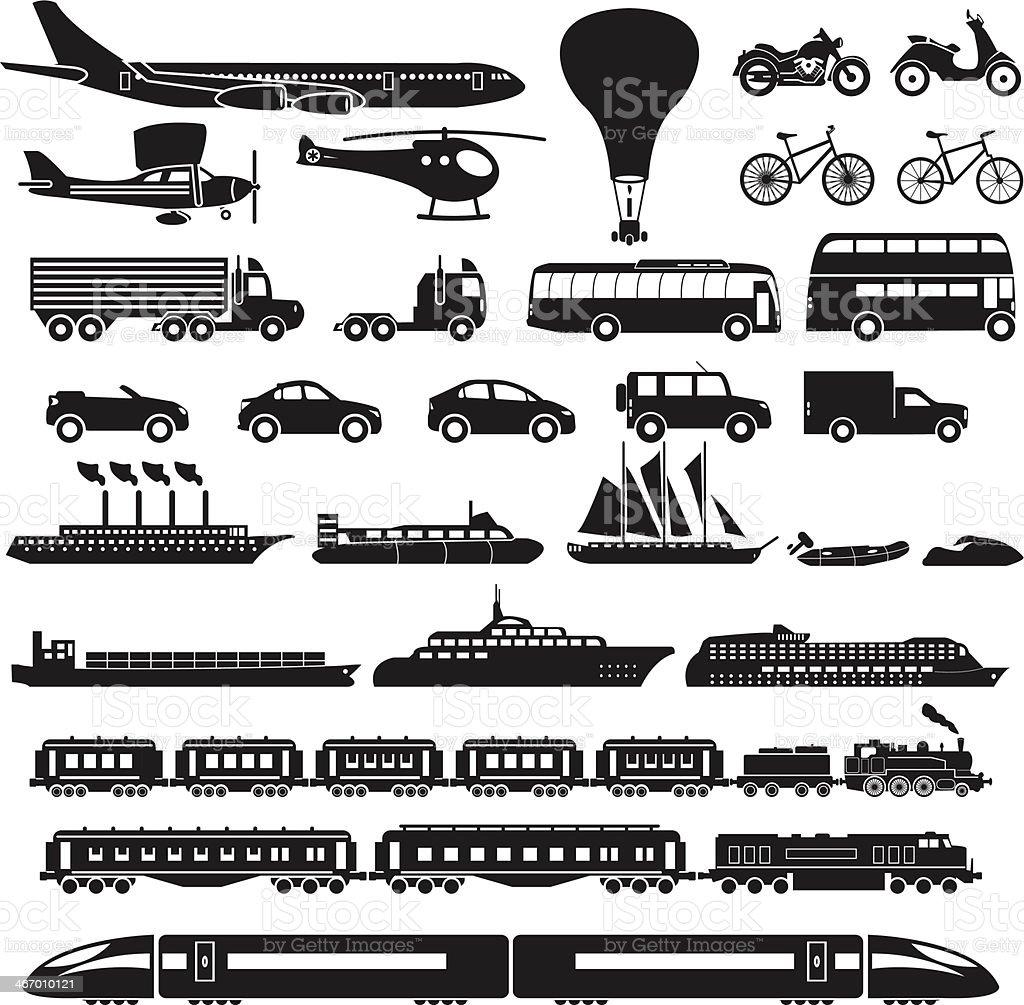 Transportation icon set vector art illustration