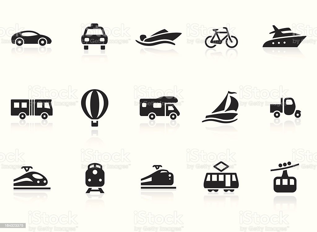 Transportation icons 2 vector art illustration
