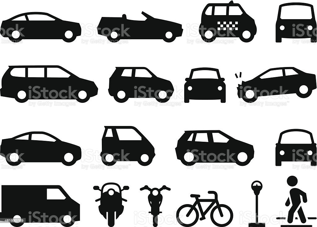 Transportation Icons - Black Series vector art illustration