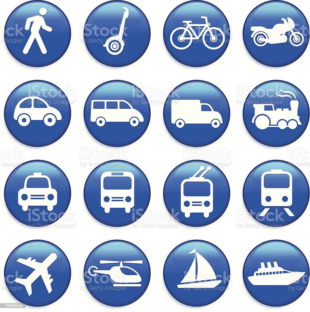 Transportation icons design elements button set vector art illustration