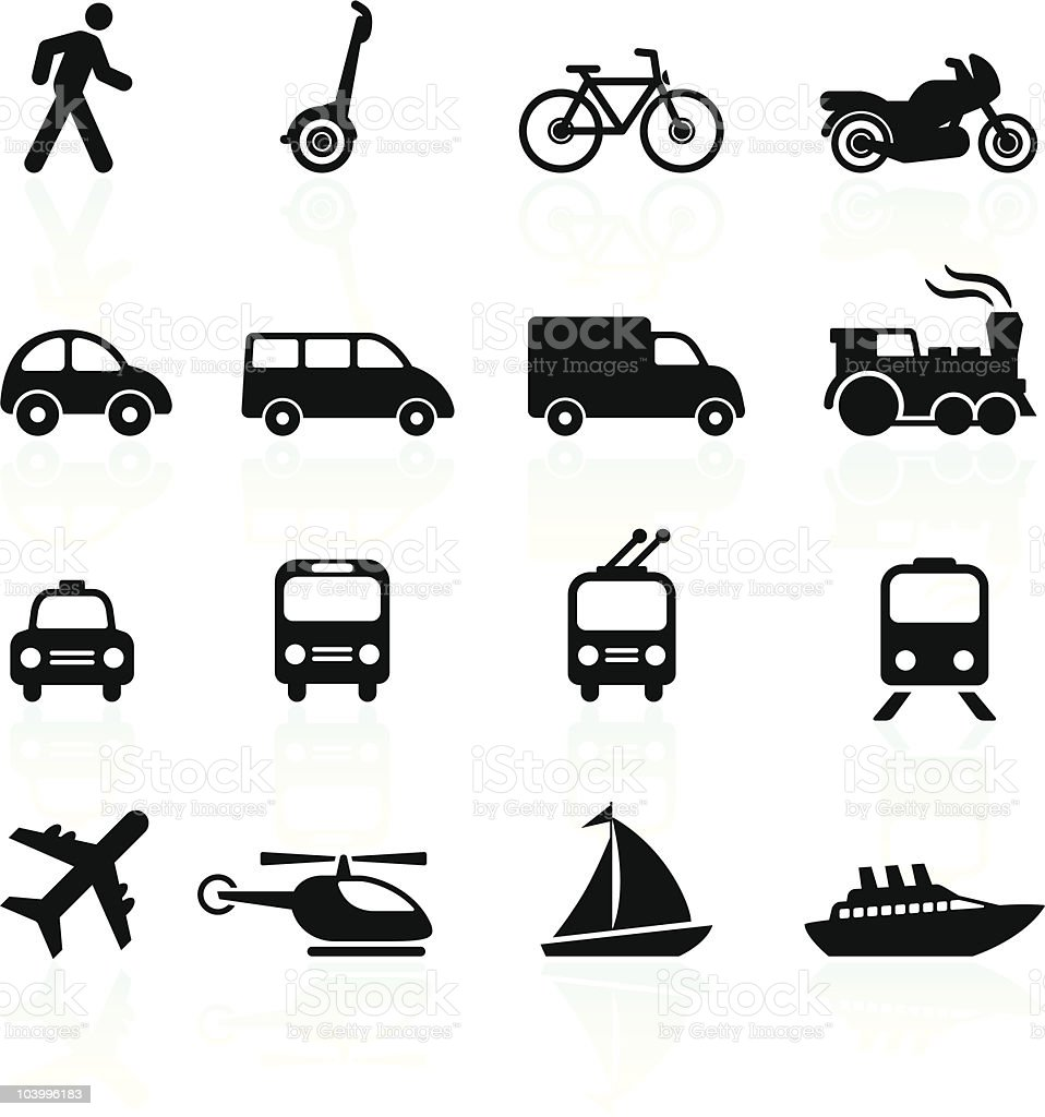 Transportation icons design elements vector art illustration
