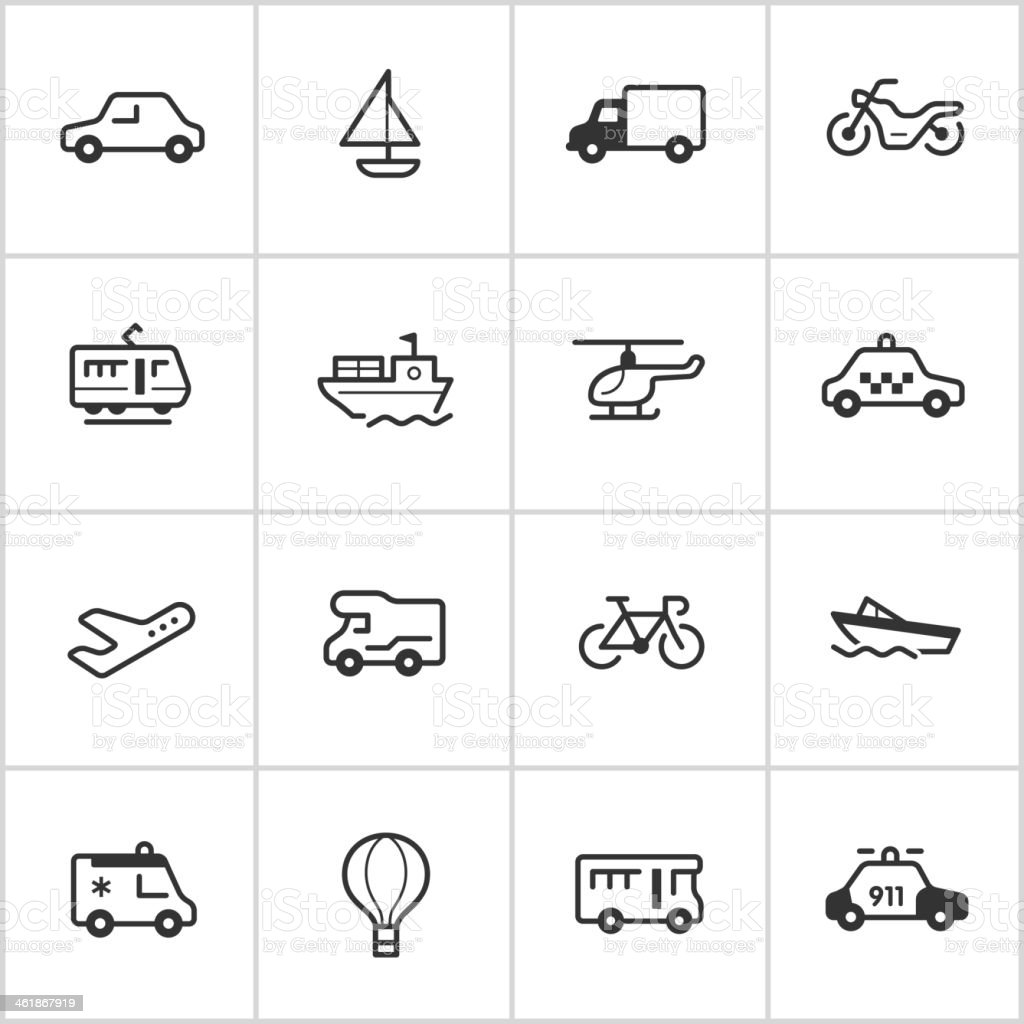 Transportation Icons — Inky Series vector art illustration