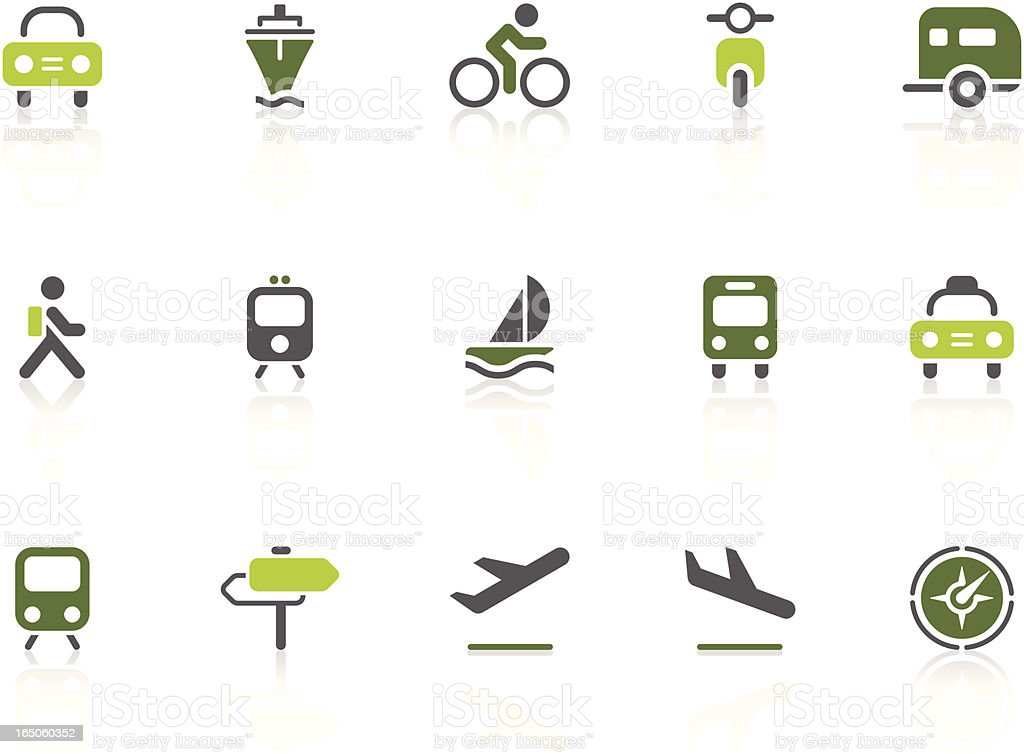 Transportation icons | lime series royalty-free stock vector art