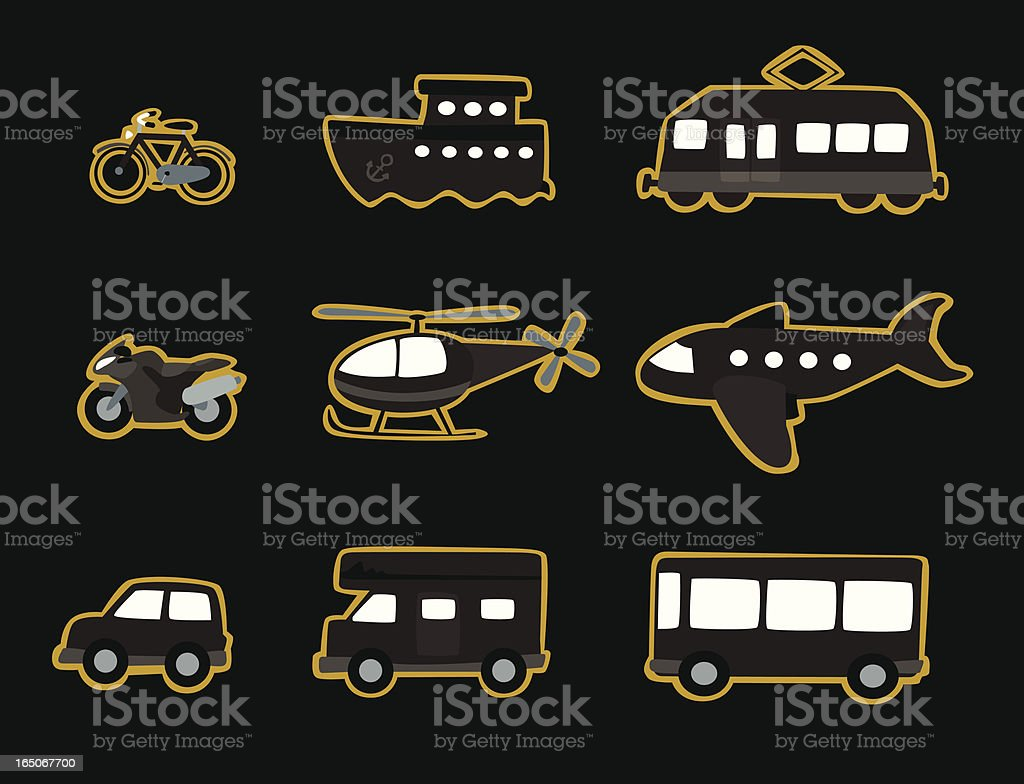 Transportation Icons Monochrome royalty-free stock vector art