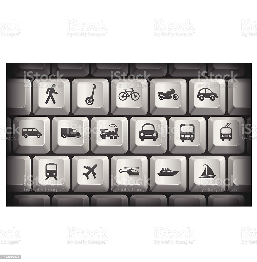 Transportation Icons on Gray Computer Keyboard Buttons royalty-free stock vector art
