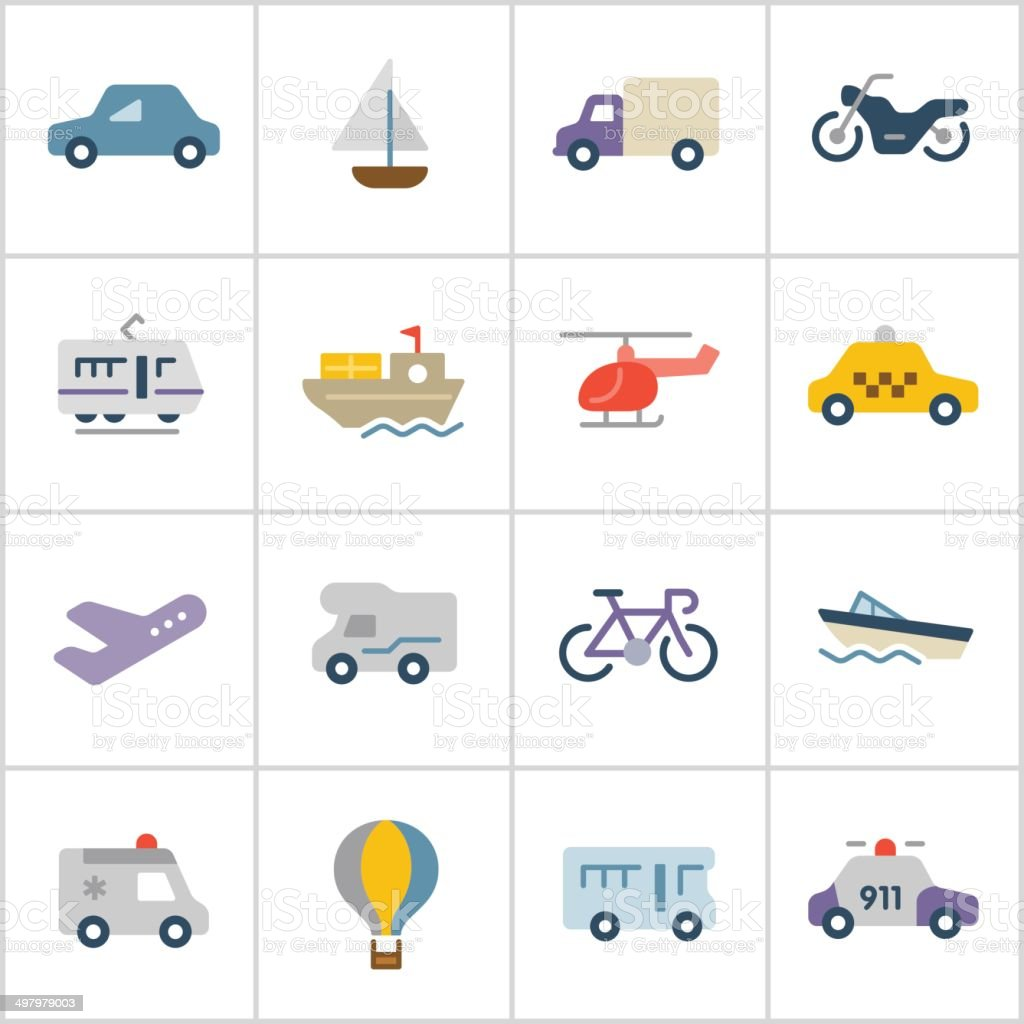 Transportation Icons — Poly Series vector art illustration