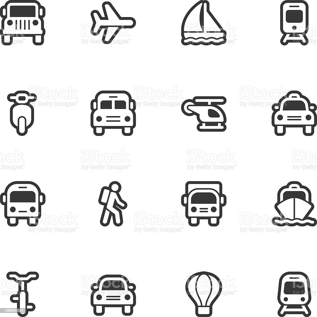Transportation icons - Regular Outline vector art illustration