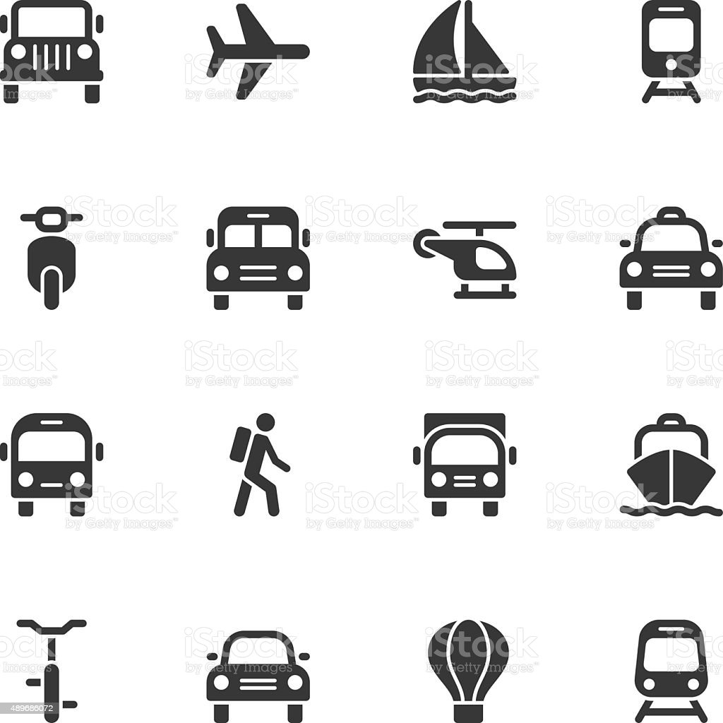 Transportation icons - Regular vector art illustration
