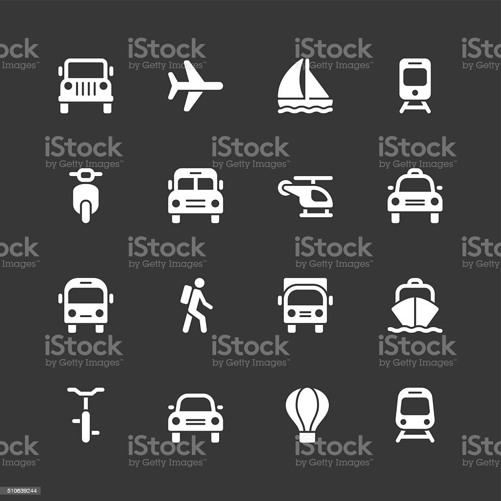 Transportation icons - Regular - White Series vector art illustration
