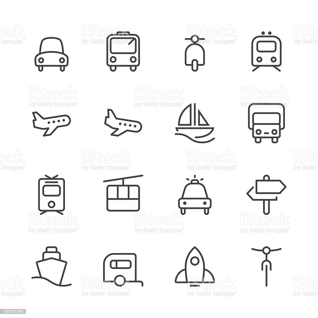 Transportation Icons set 1 | Black Line series vector art illustration