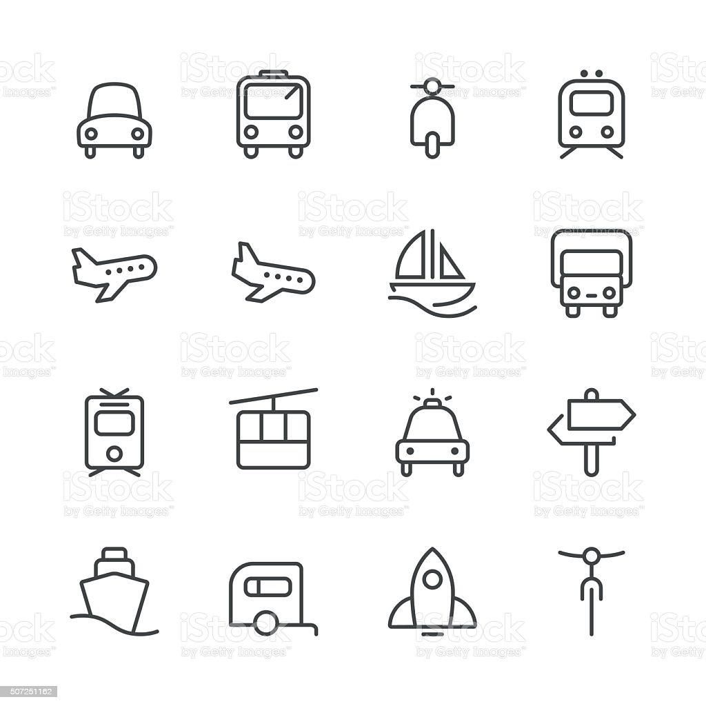 Transportation Icons set 1 | Black Line series vector art illustration