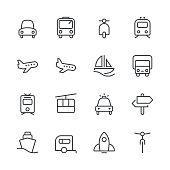 Transportation Icons set 1   Black Line series