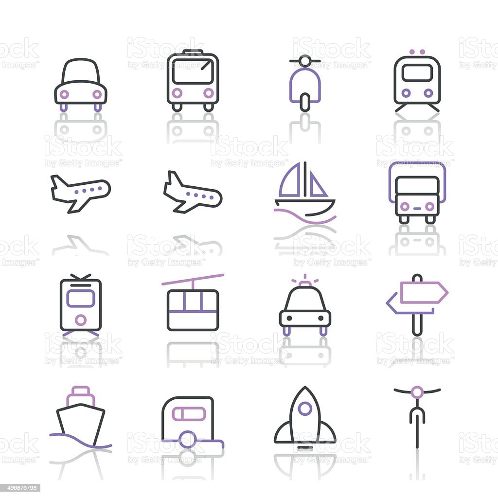 Transportation Icons set 1 | Purple Line series vector art illustration