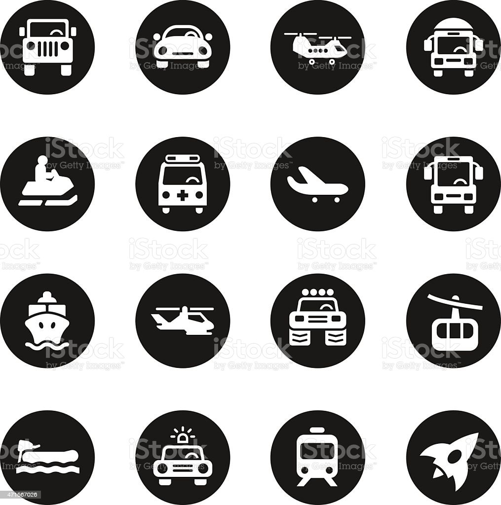 Transportation Icons Set 2 - Black Circle Series vector art illustration