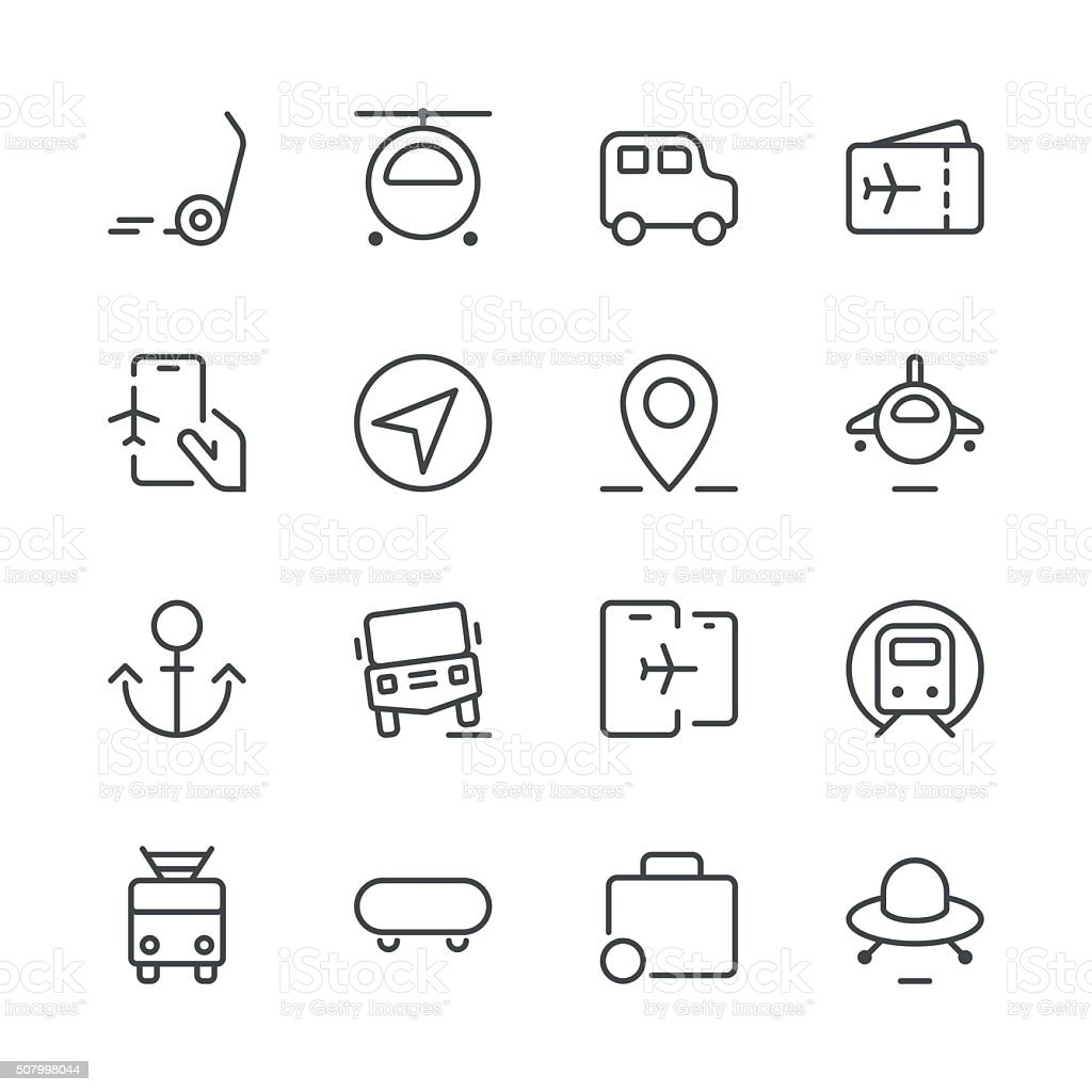 Transportation Icons set 2 | Black Line series vector art illustration