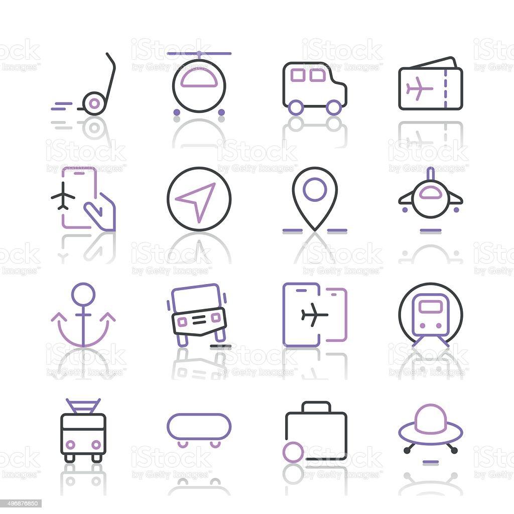 Transportation Icons set 2   Purple Line series vector art illustration