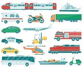 Transportation icons set. City cars and vehicles transport.