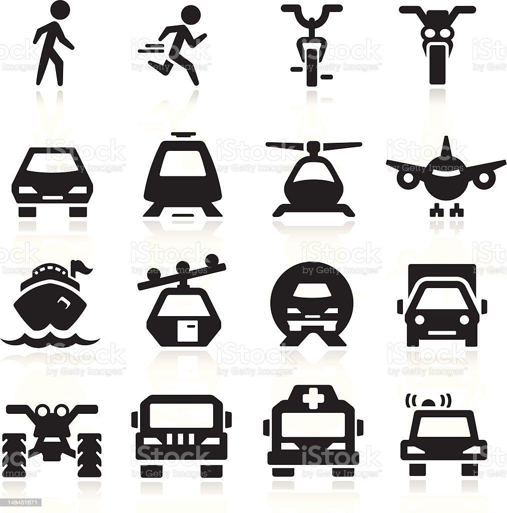 Transportation Icons set elegant series vector art illustration