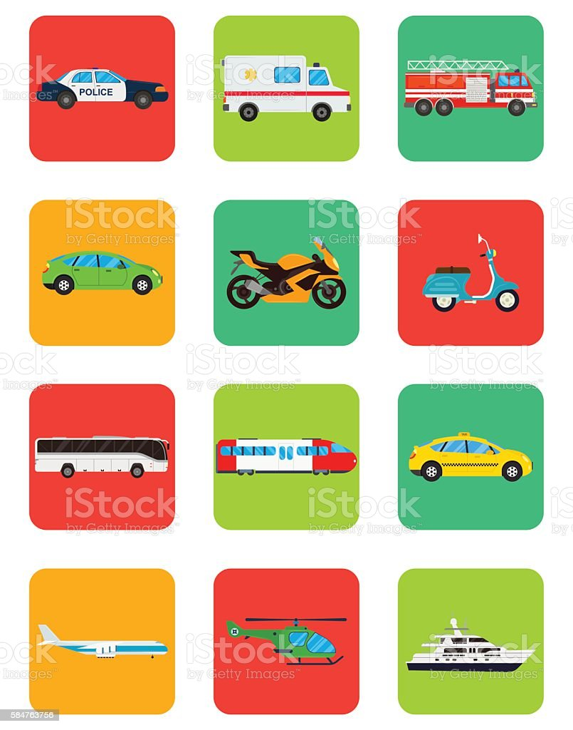 Transportation icons set. Municipal and Travel transport. Public transport. vector art illustration