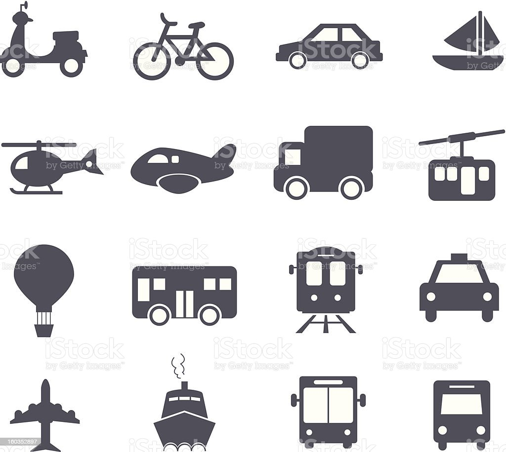 Transportation Icons set vector art illustration