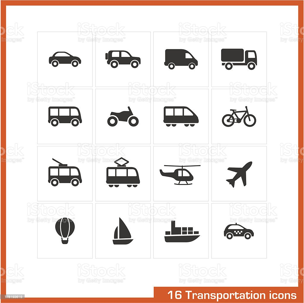 Transportation icons set. vector art illustration