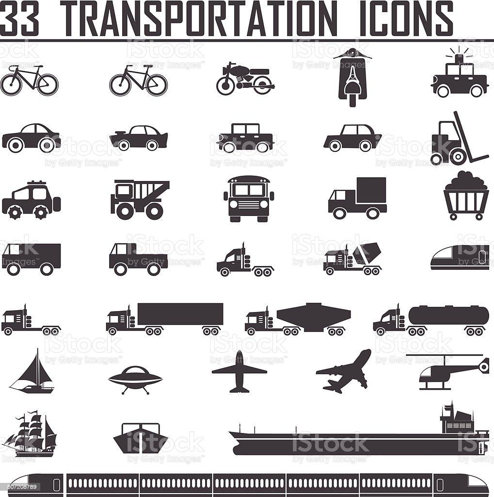 33 transportation icons sets vector art illustration