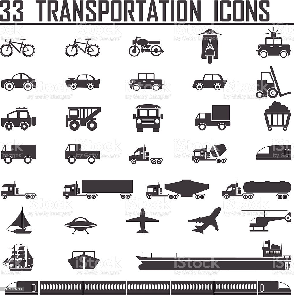 33 transportation icons sets vector art illustration