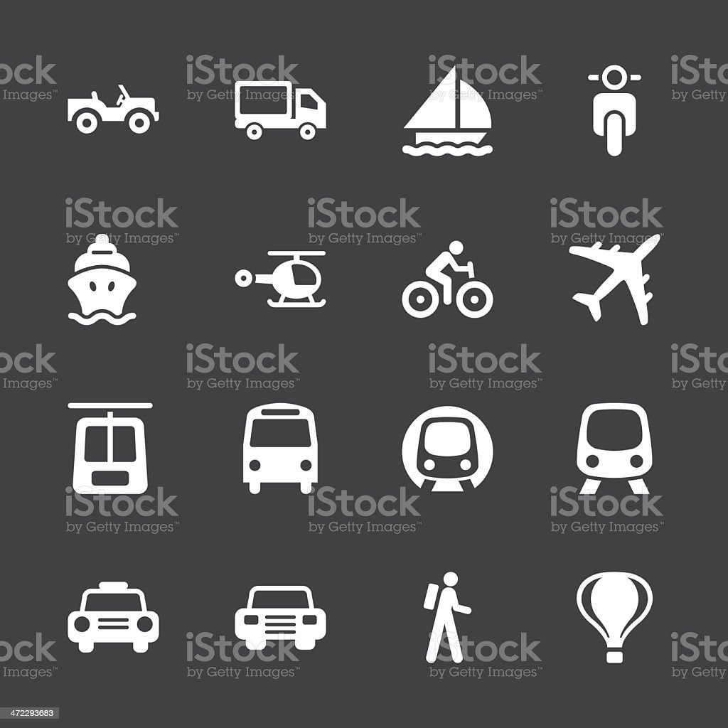 Transportation Icons - White Series | EPS10 royalty-free stock vector art