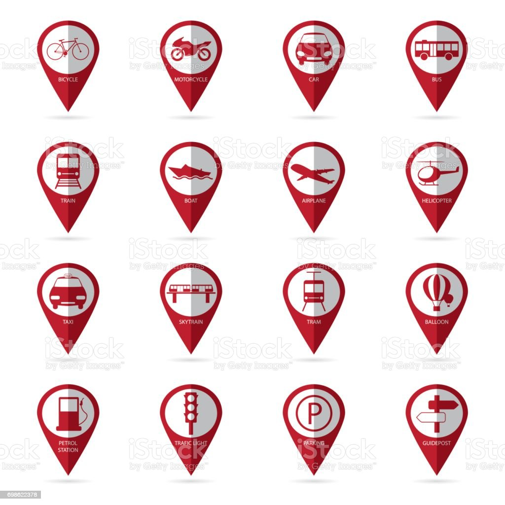 transportation icons with location icon vector art illustration