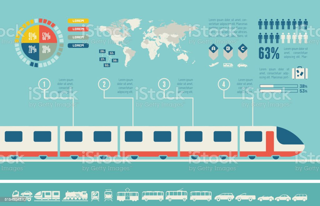 Transportation Infographic Template. vector art illustration
