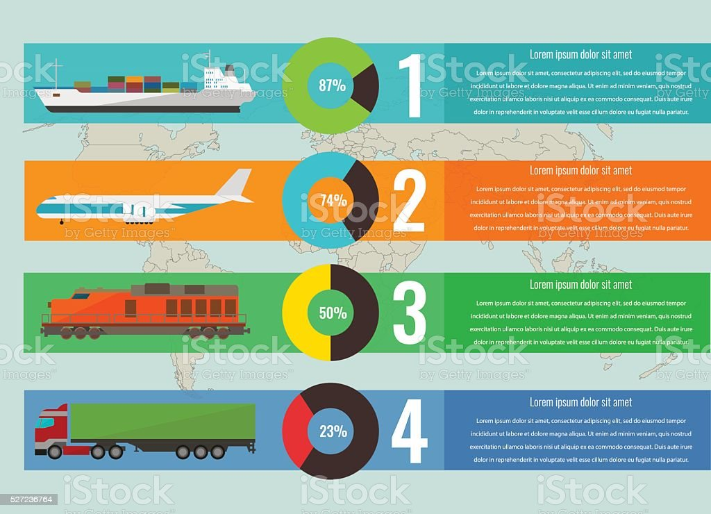 Transportation logistics concept with infographics elements. Vector royalty-free stock vector art
