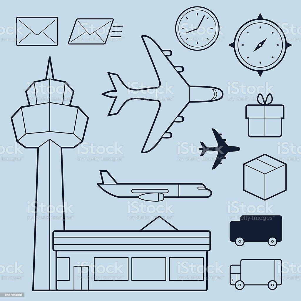 Transportation outline elements vector art illustration