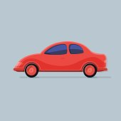 Transportation. Red car isolated background. Flat icon vector illustration.