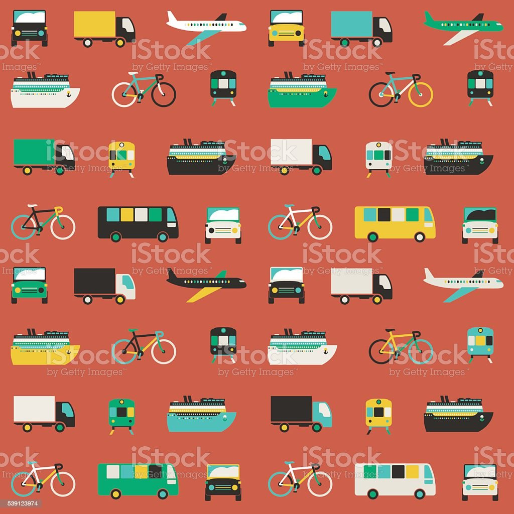 Transportation seamless pattern vector art illustration