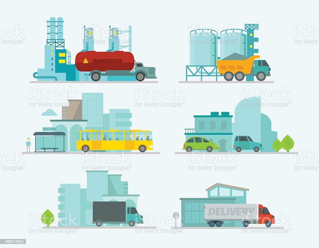 Transportation set. Trucks end bus, passenger cars in sity vector art illustration