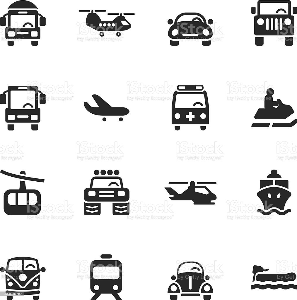 Transportation Silhouette Icons | Set 2 royalty-free stock vector art