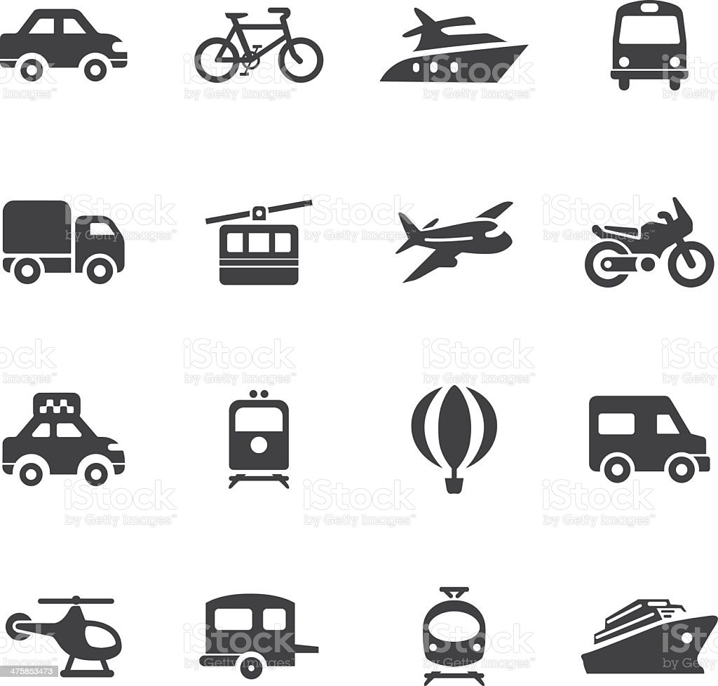 Transportation Silhouette icons vector art illustration