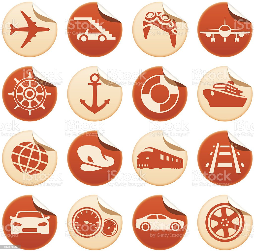 Transportation stickers royalty-free stock vector art