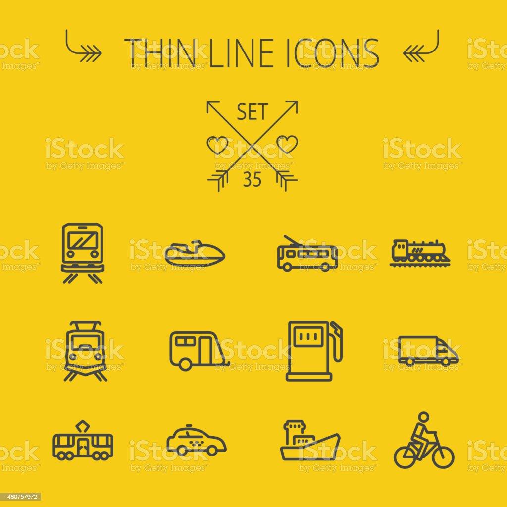 Transportation thin line icon set vector art illustration