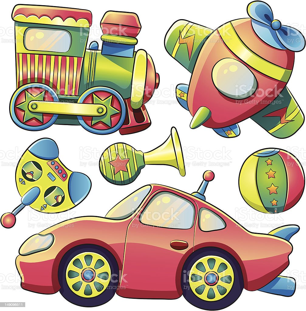 Transportation Toys Collection royalty-free stock vector art