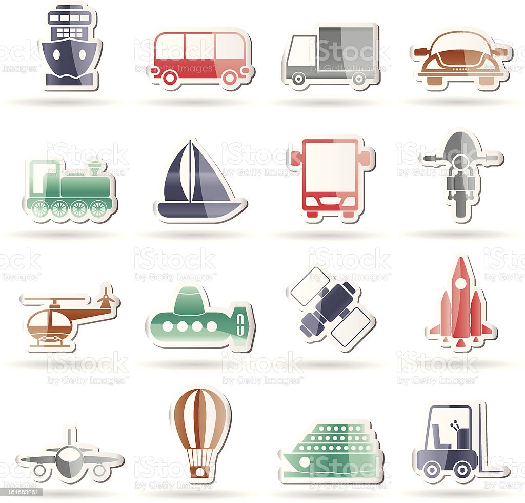 Transportation, travel and shipment icons royalty-free stock vector art