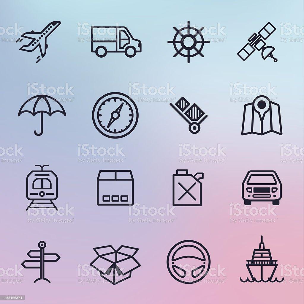 Transportation & Travel Line Icons vector art illustration