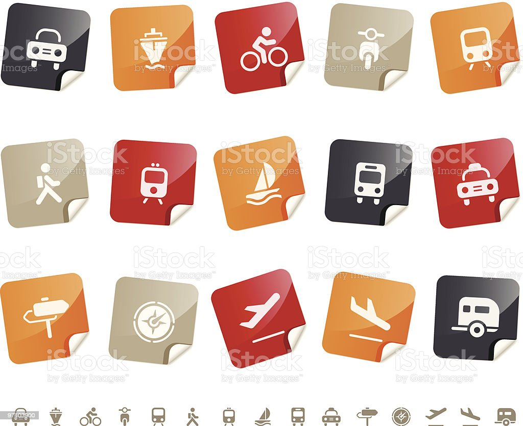 Transportation & Vehicle icons ? Sticky series vector art illustration