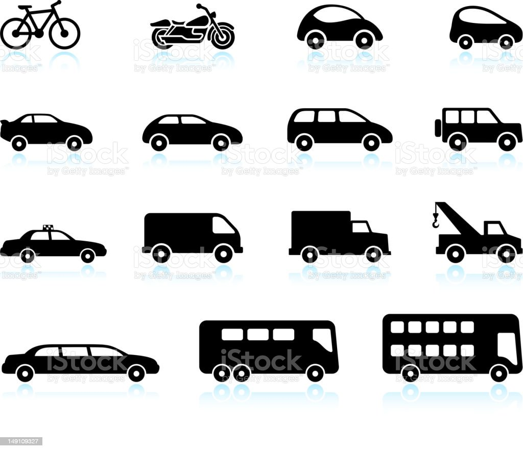 Transportation Vehicles black and white royalty free vector icon set vector art illustration